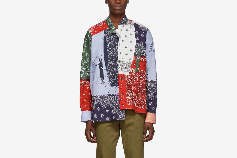 Multicolor Asymmetric Bandana Patchwork Shirt