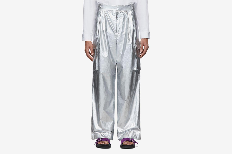 Nylon Pleated Cargo Pants