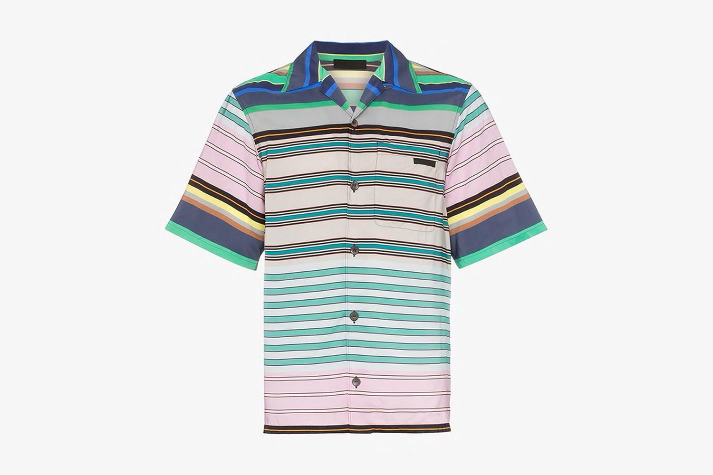 Stripe Print Logo Patch Shirt