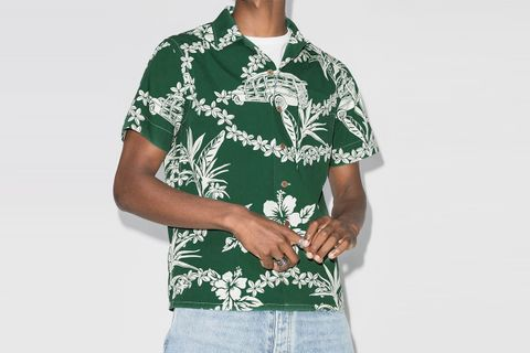 Tropical-Print Poplin Shirt