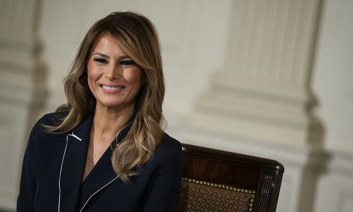 First lady Melania Trump attends a meeting of the President's Task Force