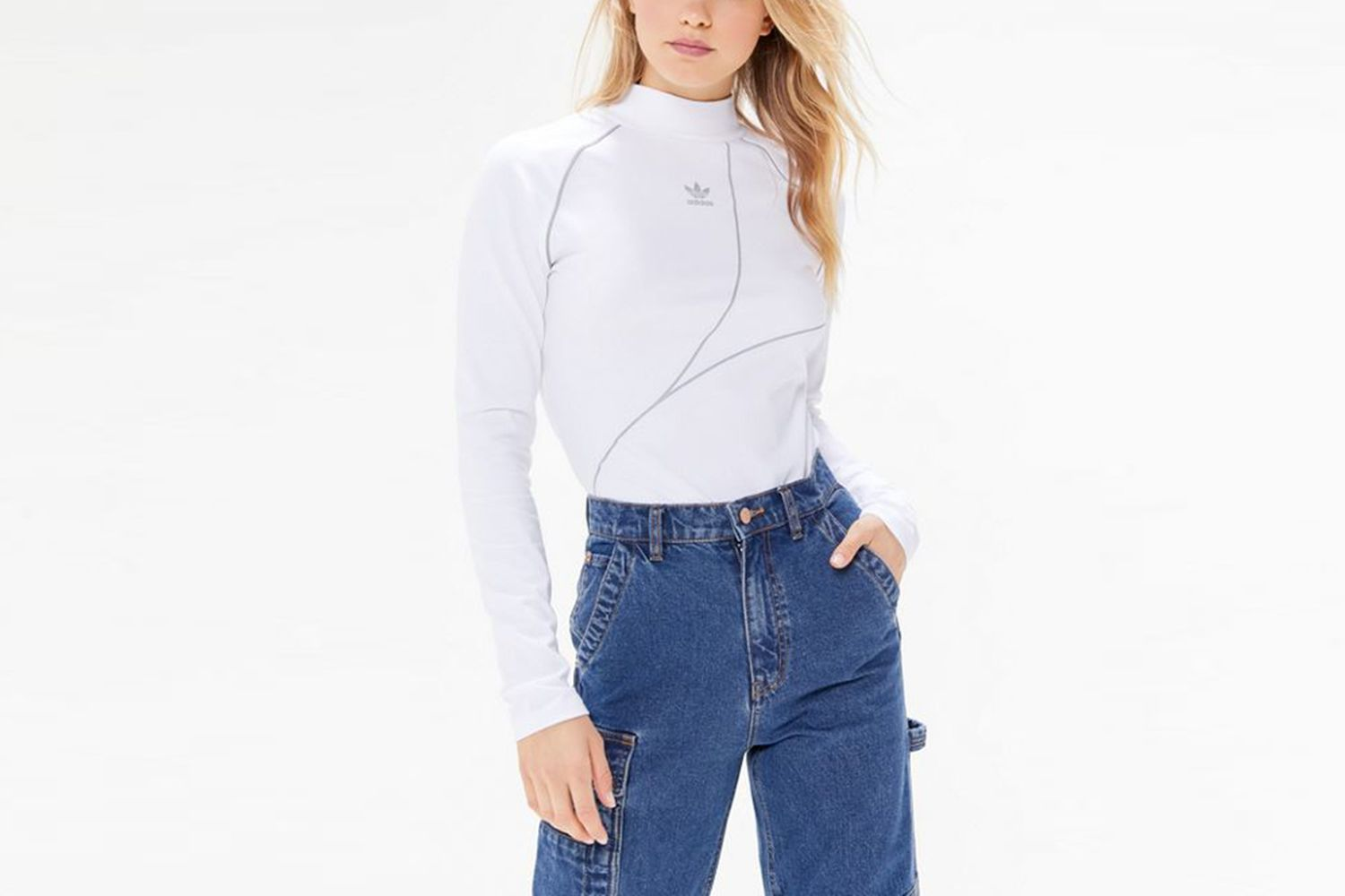 Reflective Mock Neck Top