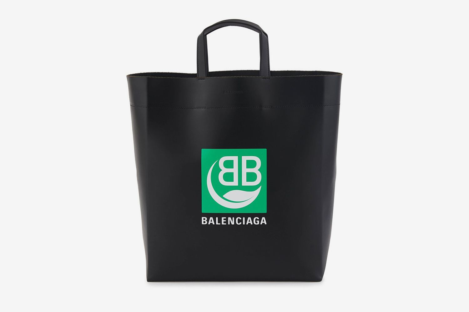 Green Logo Leather Tote Bag