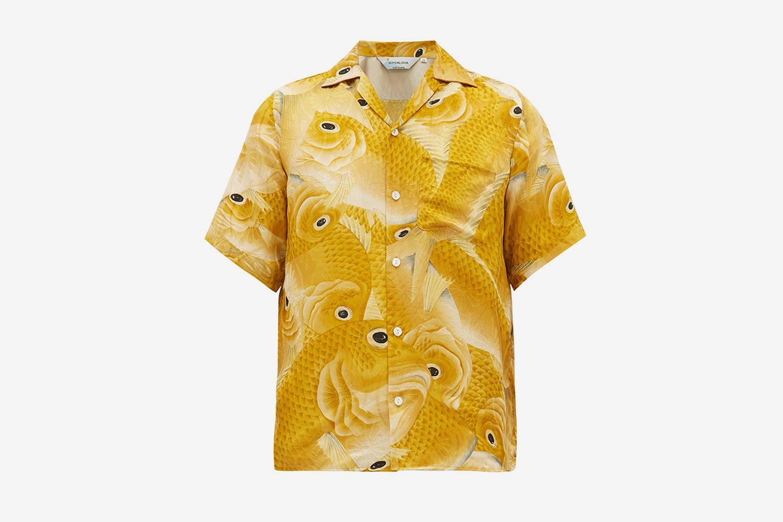 Hundred Gold Snapper-Print Silk Shirt