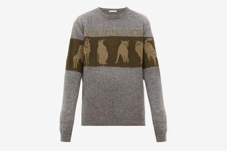 Animal-jacquard Wool-blend Sweater