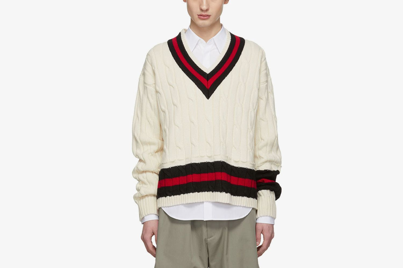 Beige Collegiate Decortique V-Neck Sweater