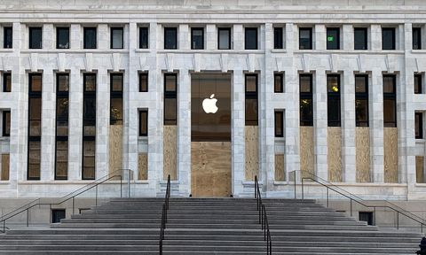 The windows of the Apple store in Washington DC