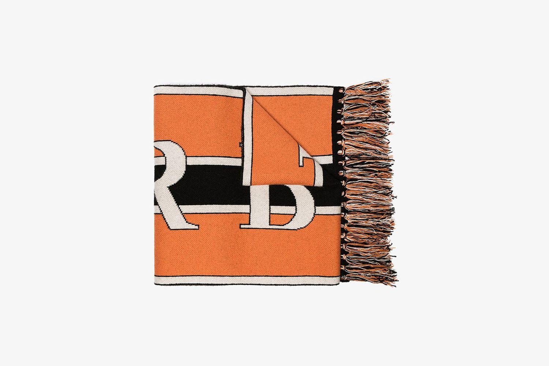 Logo Knit Cashmere Football Scarf