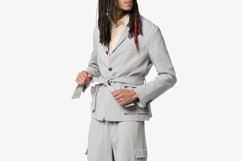 Tie Waist Woollen Blend Blazer Jacket