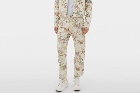 Fairy-Print Cotton Gabardine Trousers
