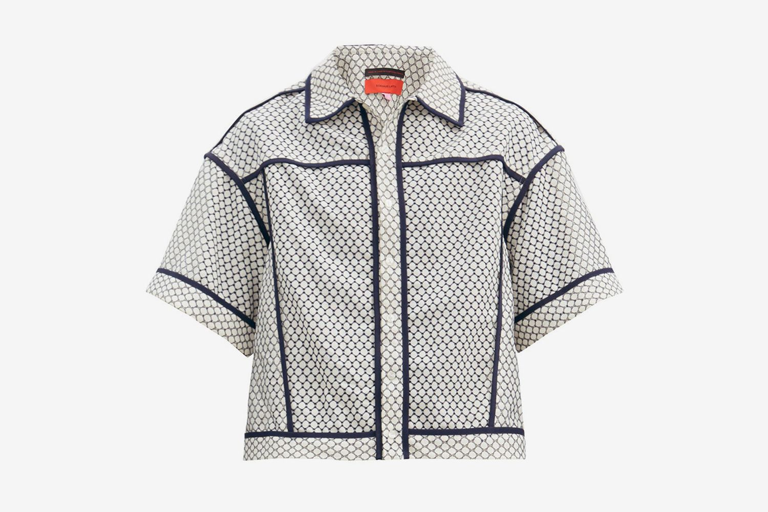 Piped-Trim Jacquard-Knitted Shirt
