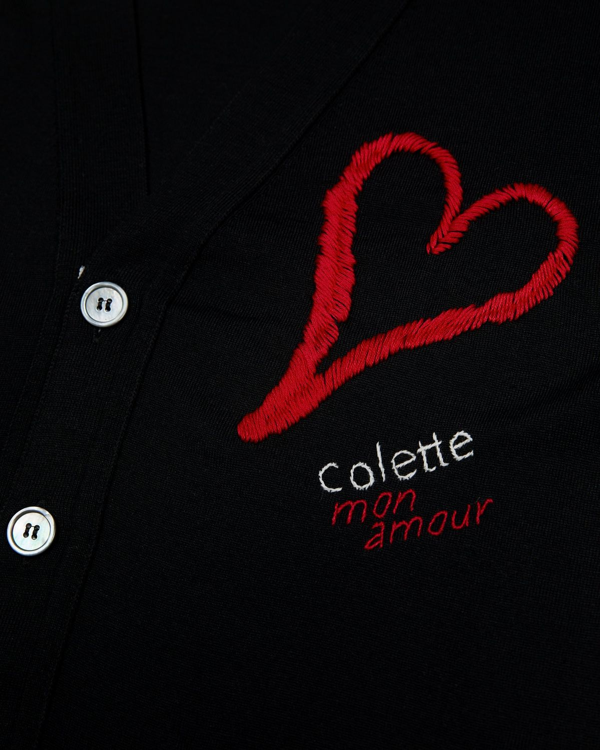 Colette Mon Amour x Thom Browne - Black Heart Cardigan - Image 4