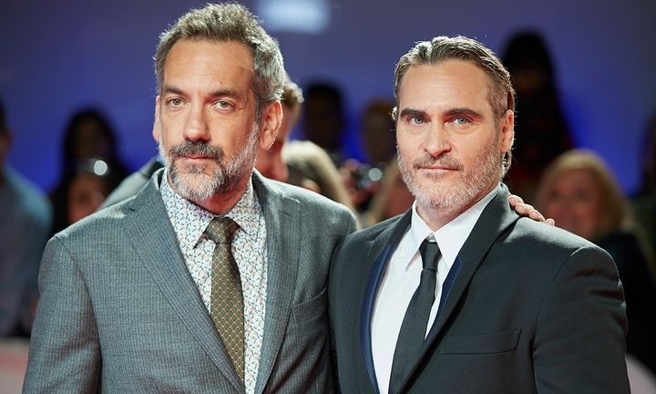Todd Phillips and Joaquin Phoenix on the red carpet