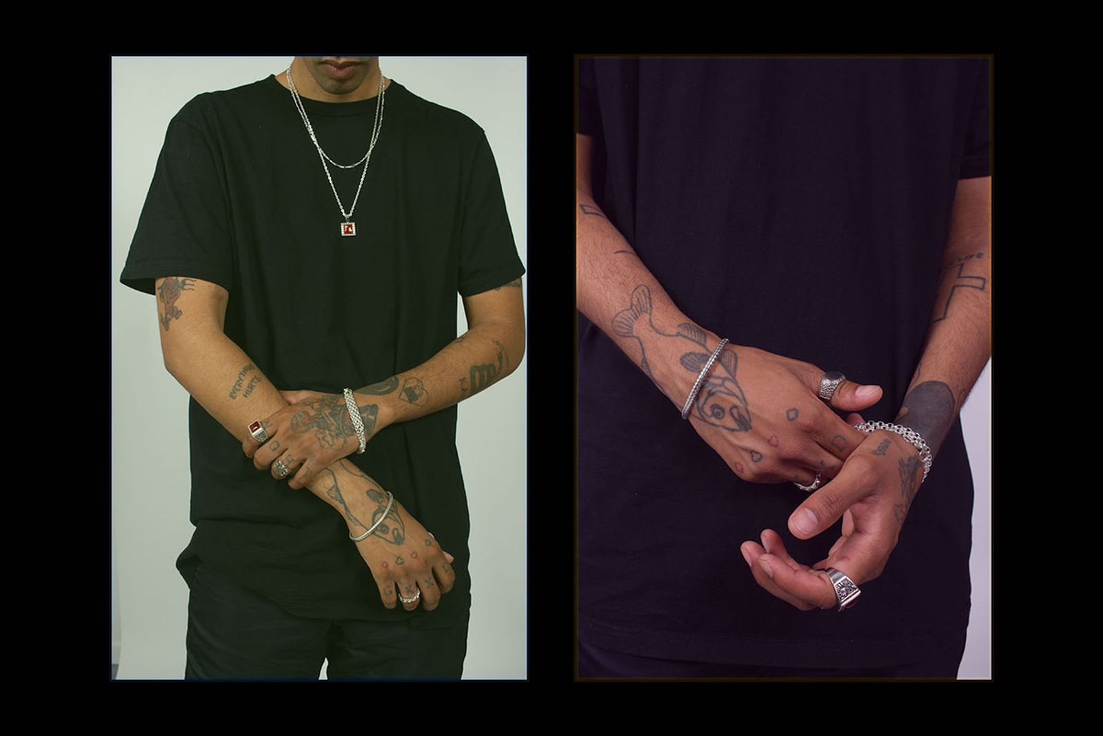 MAPLE fw19 silver jewelry on tatted model