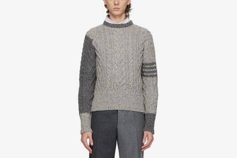 Mohair Aran 4-Bar Cable Sweater