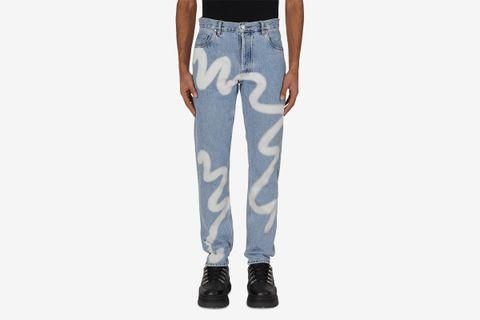 Wavey Print Straight Leg Denim Pants
