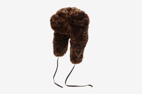 Leopard Print Faux Fur Trapper Hat