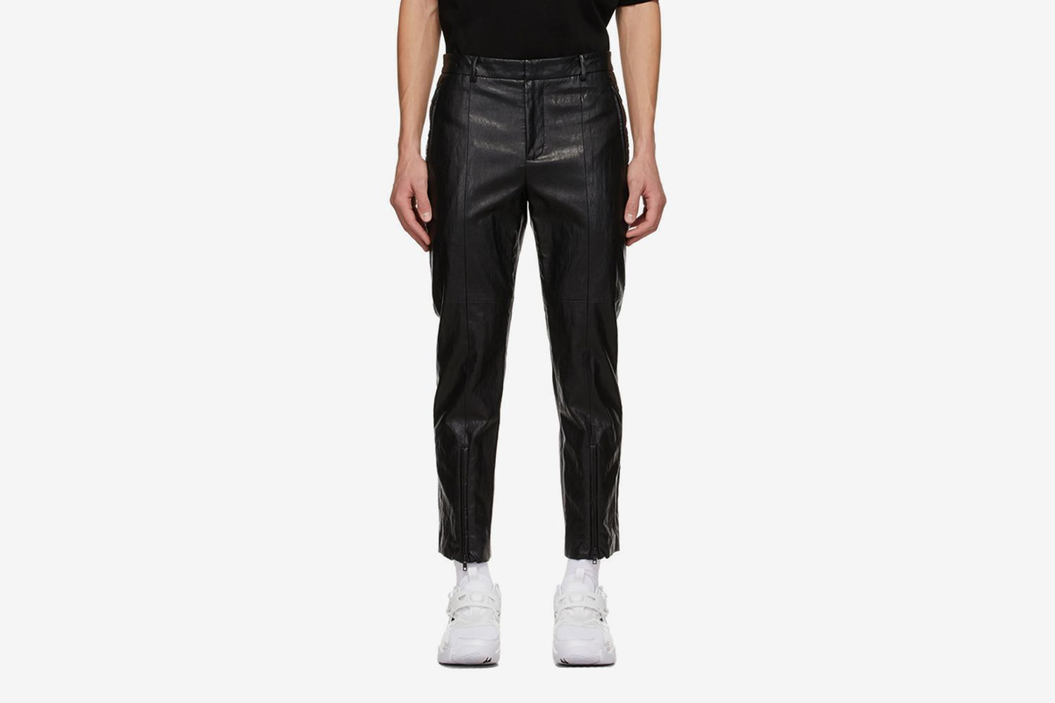 Faux-Leather Zip Trousers