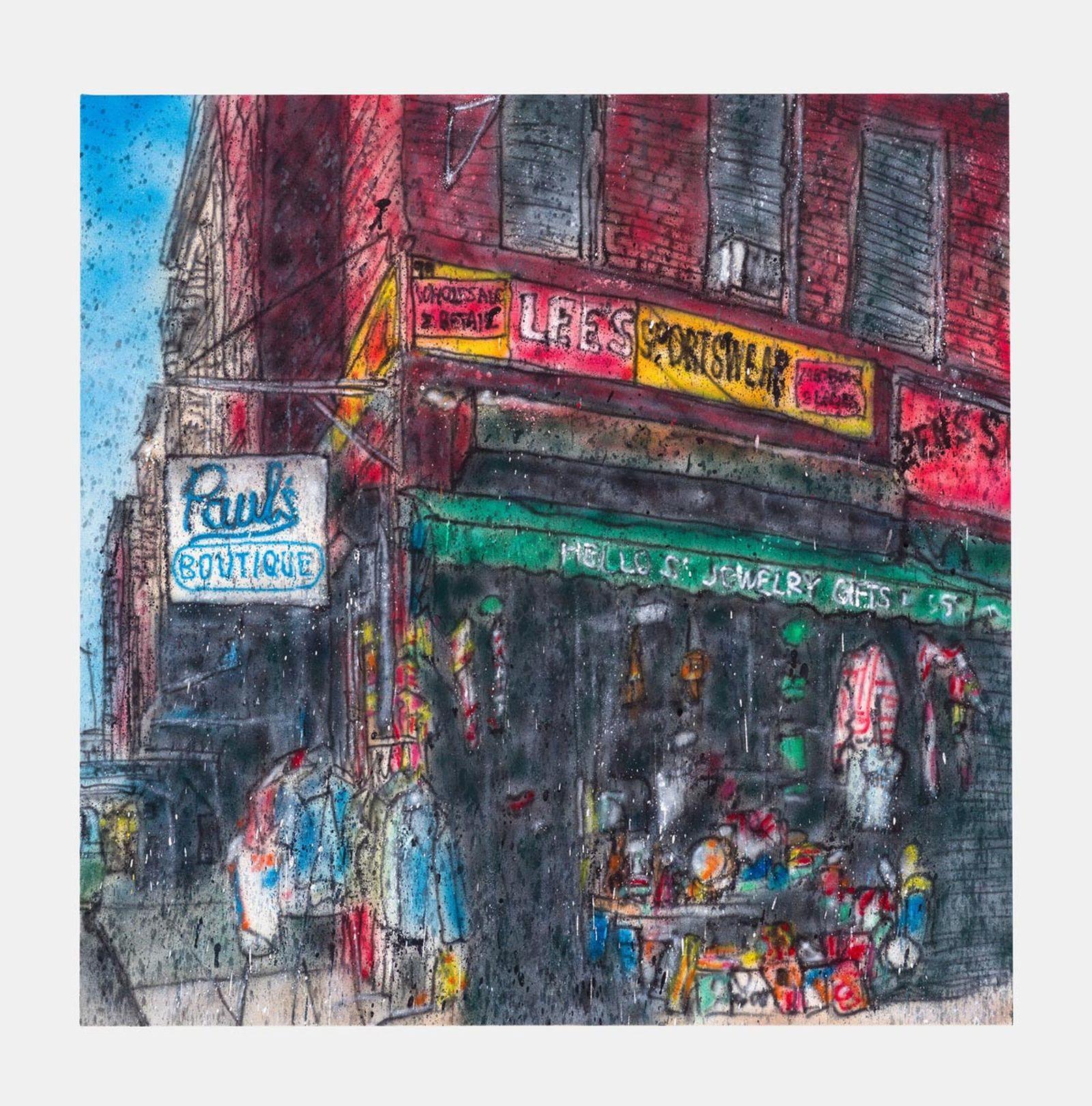 Untitled, 2020 Acrylic paint, aerosol on canvas 100 x 100 cm.