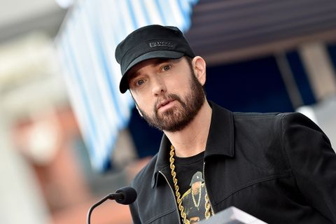 "Eminem attends the ceremony honoring Curtis ""50 Cent"" with a Star on the Hollywood Walk of Fame"