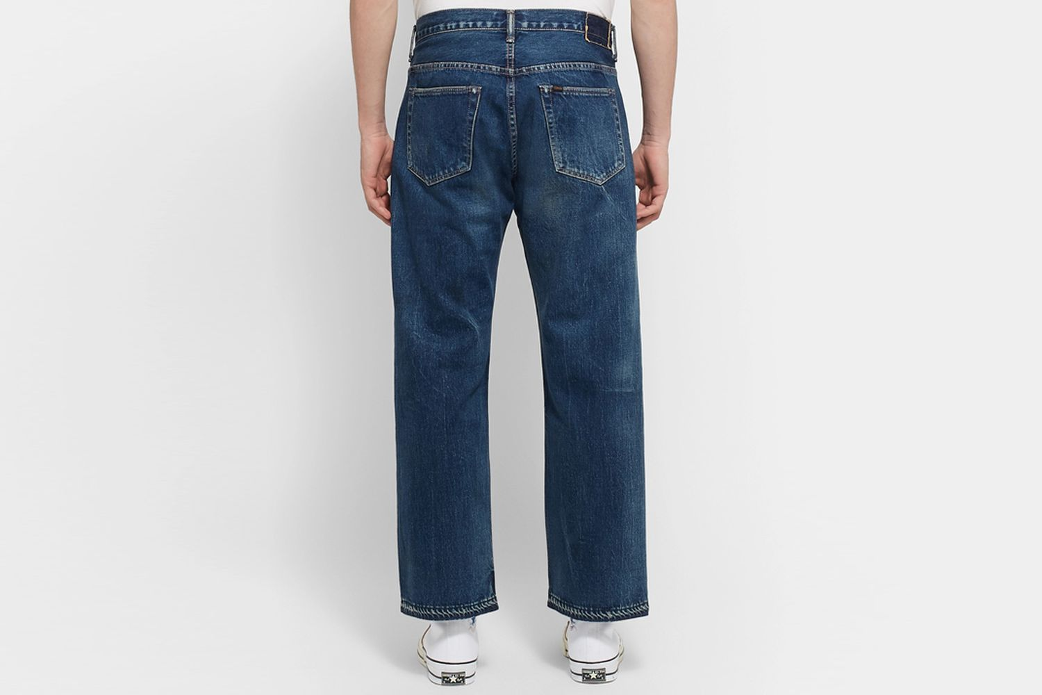 Cropped Washed Selvedge Denim Jeans