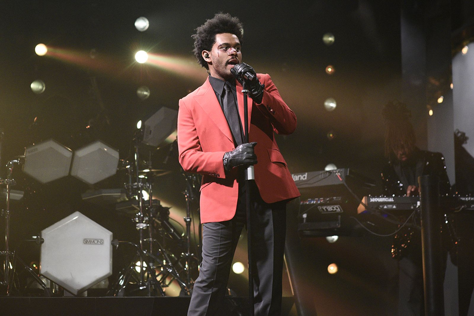 The Weeknd performing Saturday Night Live