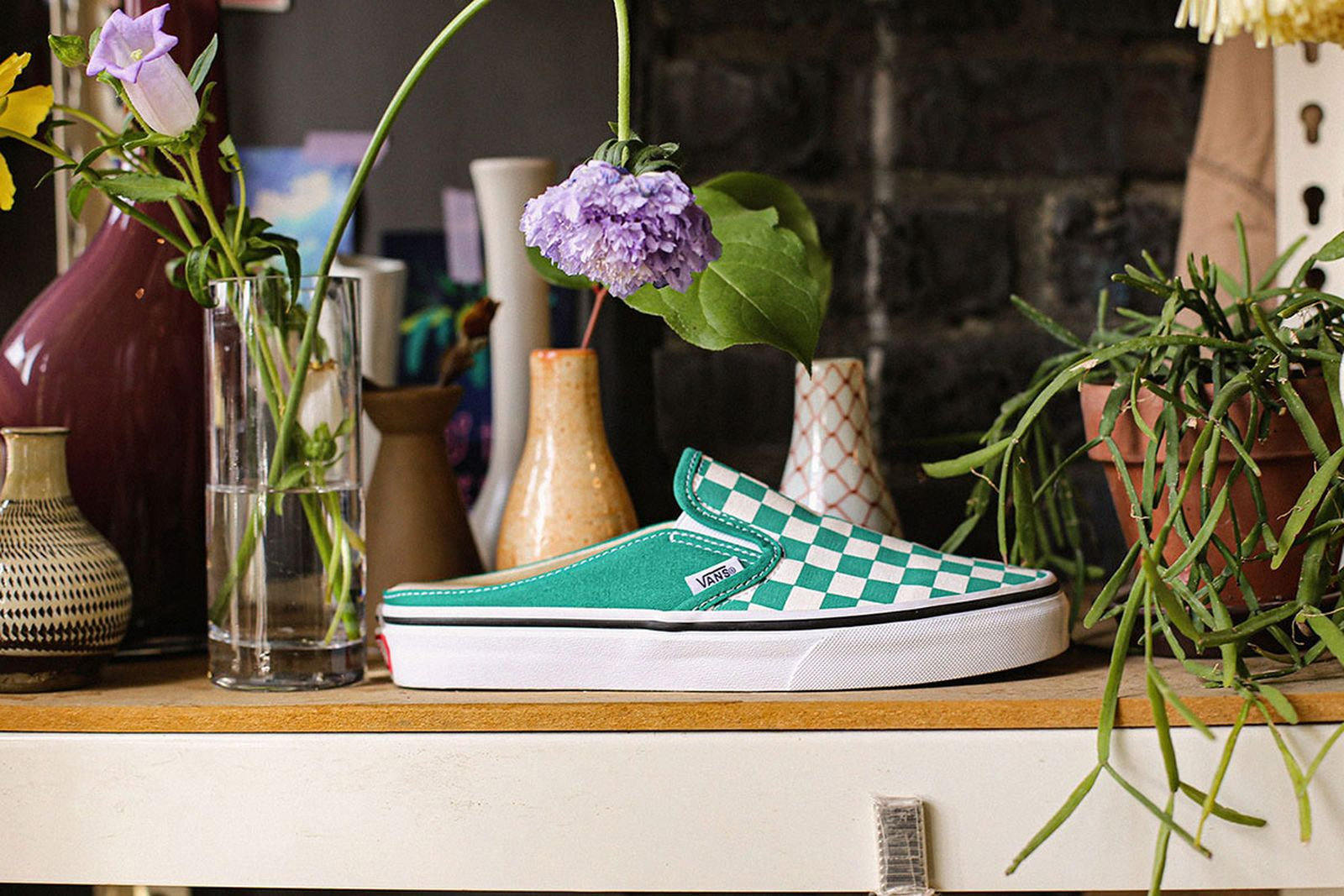 Green Vans Mule Slip-On with checkerboard pattern