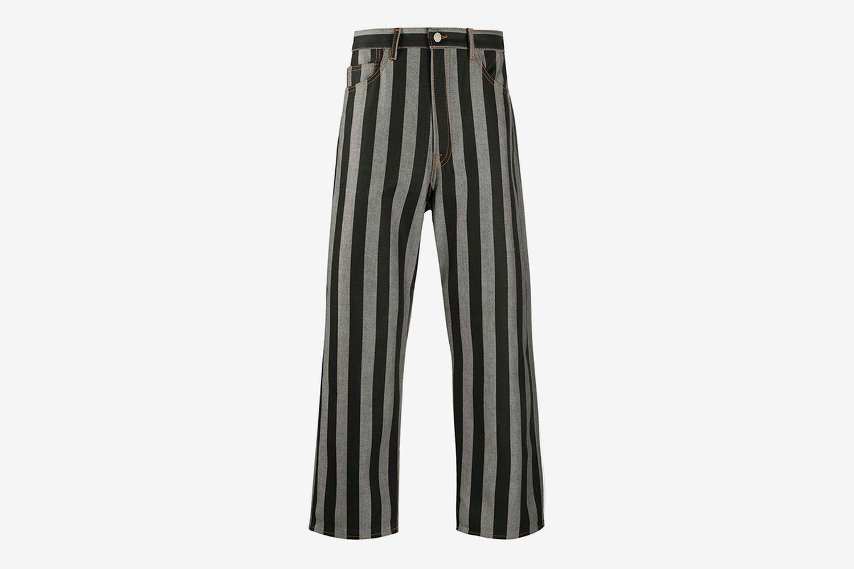Striped Straight-Leg Trousers