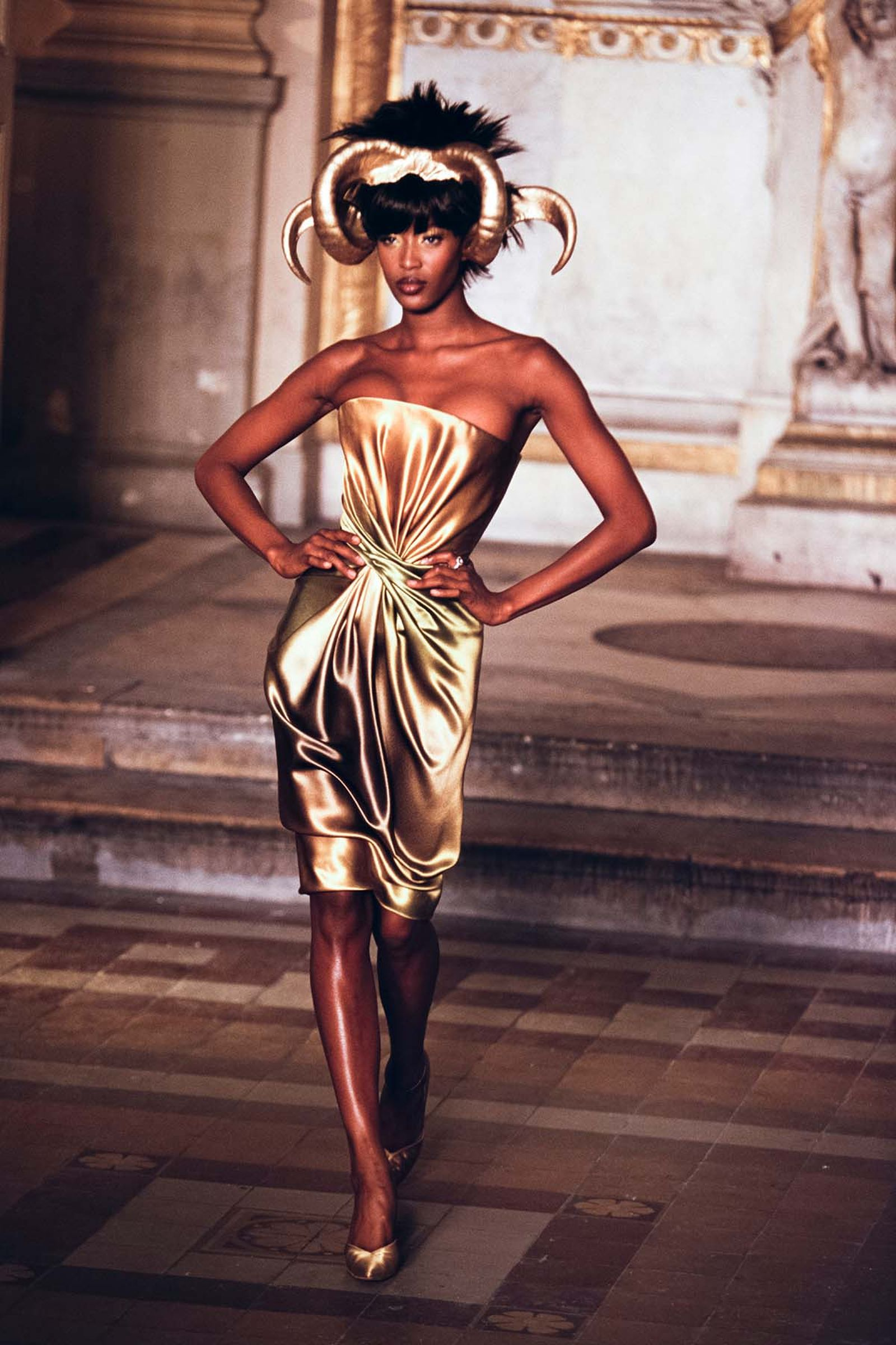 Naomi Campbell walks the runway of Givenchy's Fall/Winter 1997 couture show at Paris Fashion Week.
