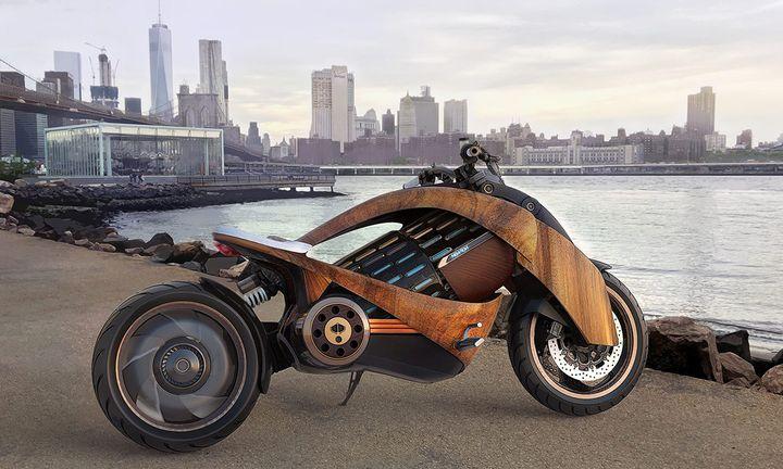 Newron Motors EV-1 Wooden Electric Motorcycle