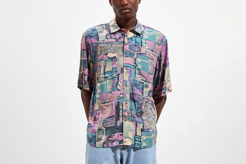 Printed Faux Silk Short Sleeve Button-Down Shirt