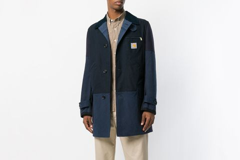 Single-Breasted Patchwork Coat