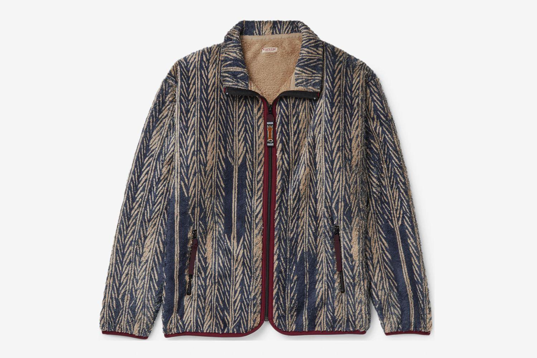 Java-Yabane Printed Fleece Zip-Up Sweatshirt