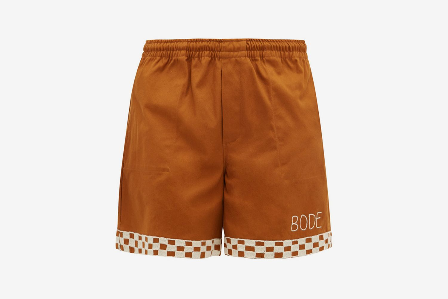 Checkerboard Embroidered Cotton Shorts