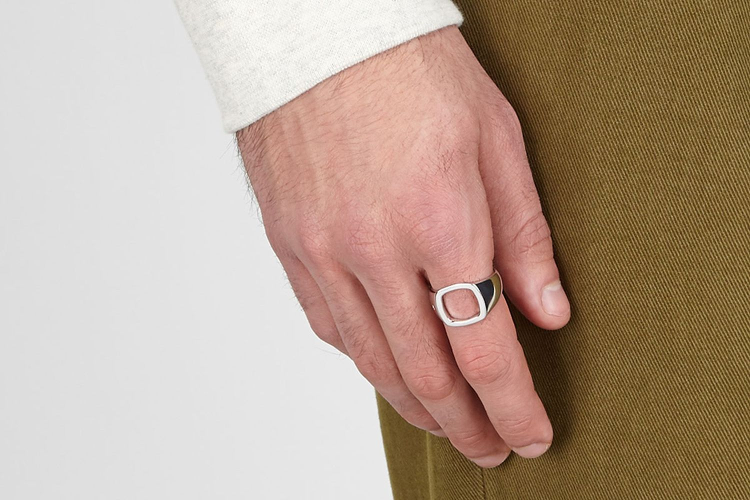 Cushion Open Sterling Silver Ring