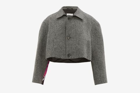 Flamingo-print Satin And Tweed Cropped Jacket