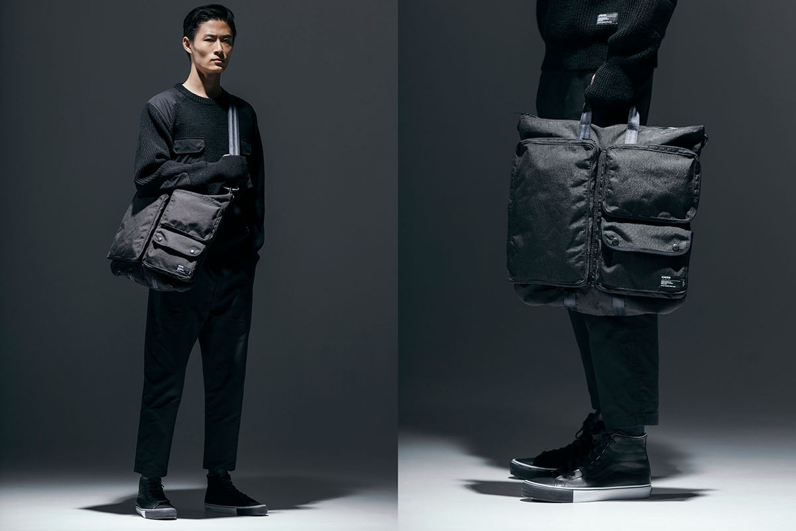 haven x porter bags on model grey background