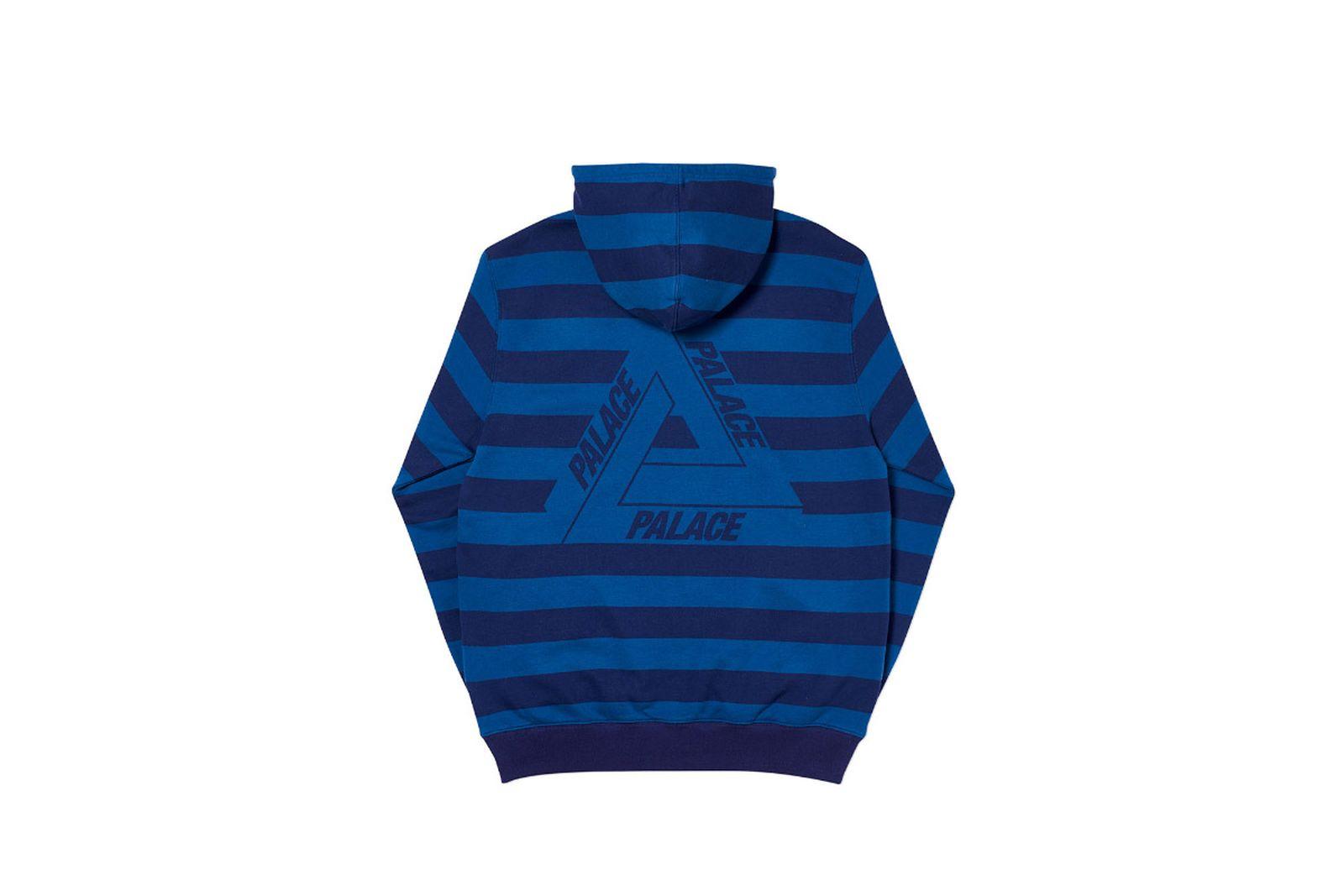 Palace 2019 Autumn Hood Tri Stripe Zip Blue Back