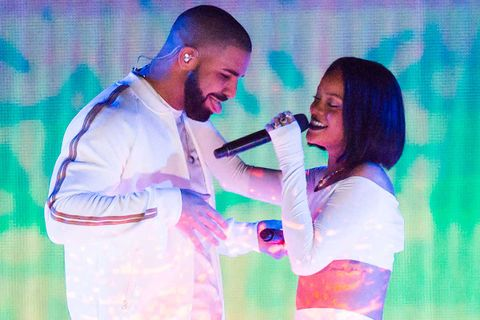 Drake and Rihanna flirting on stage