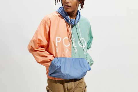Nylon Colorblock Windbreaker Jacket