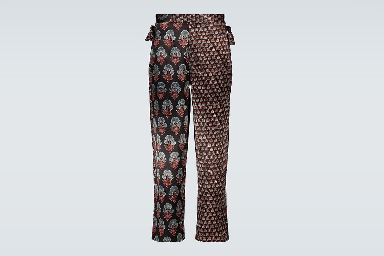 Duo Block-Printed Silk Pants