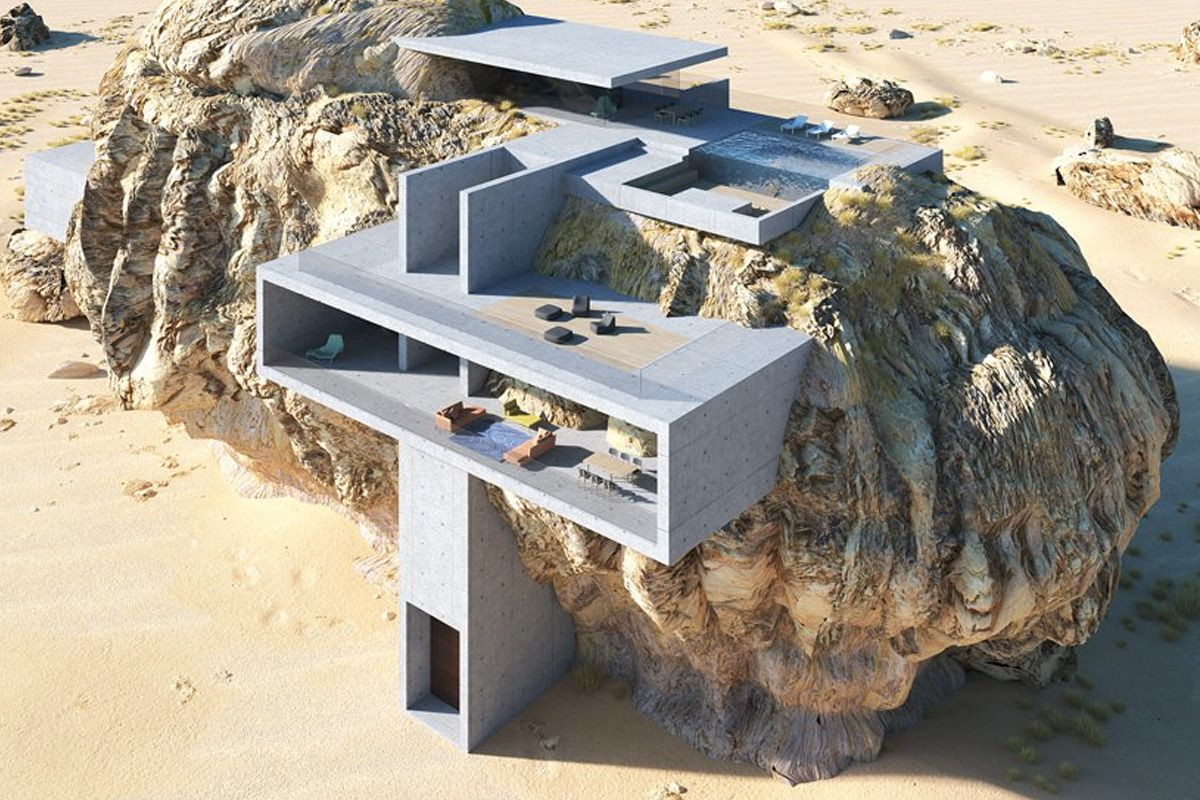 """Concept Art """"House Inside a Rock"""" Merges Ancient Tombs With Minimal Architecture"""