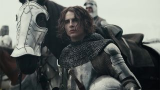 Timothée Chalamet armor horse The King trailer