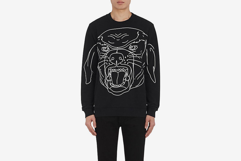 Stenciled-Rottweiler Cotton Sweatshirt