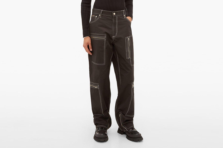 Contrast Stitch Cargo Trousers