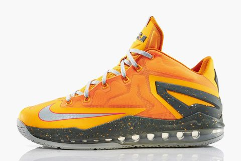 "check out 302d7 acfa0 The Nike LeBron 11 Low gets a fruity summer makeover with this ""Atomic  Mango"" colorway. The low-top basketball sneaker has been given an exotic  orange ..."
