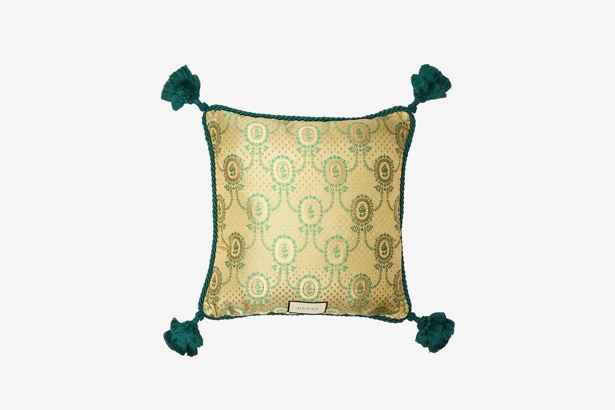 Kingsnake-Embroidered Velvet Cushion