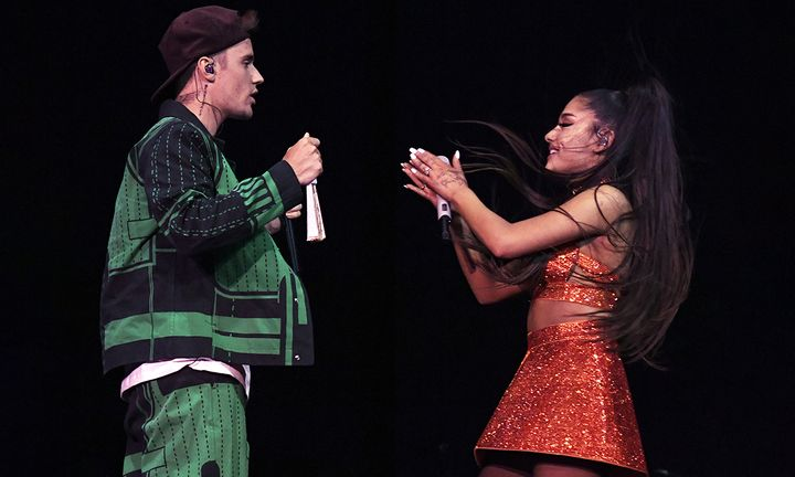 Justin Bieber (L) performs with Ariana Grande at Coachella Stage