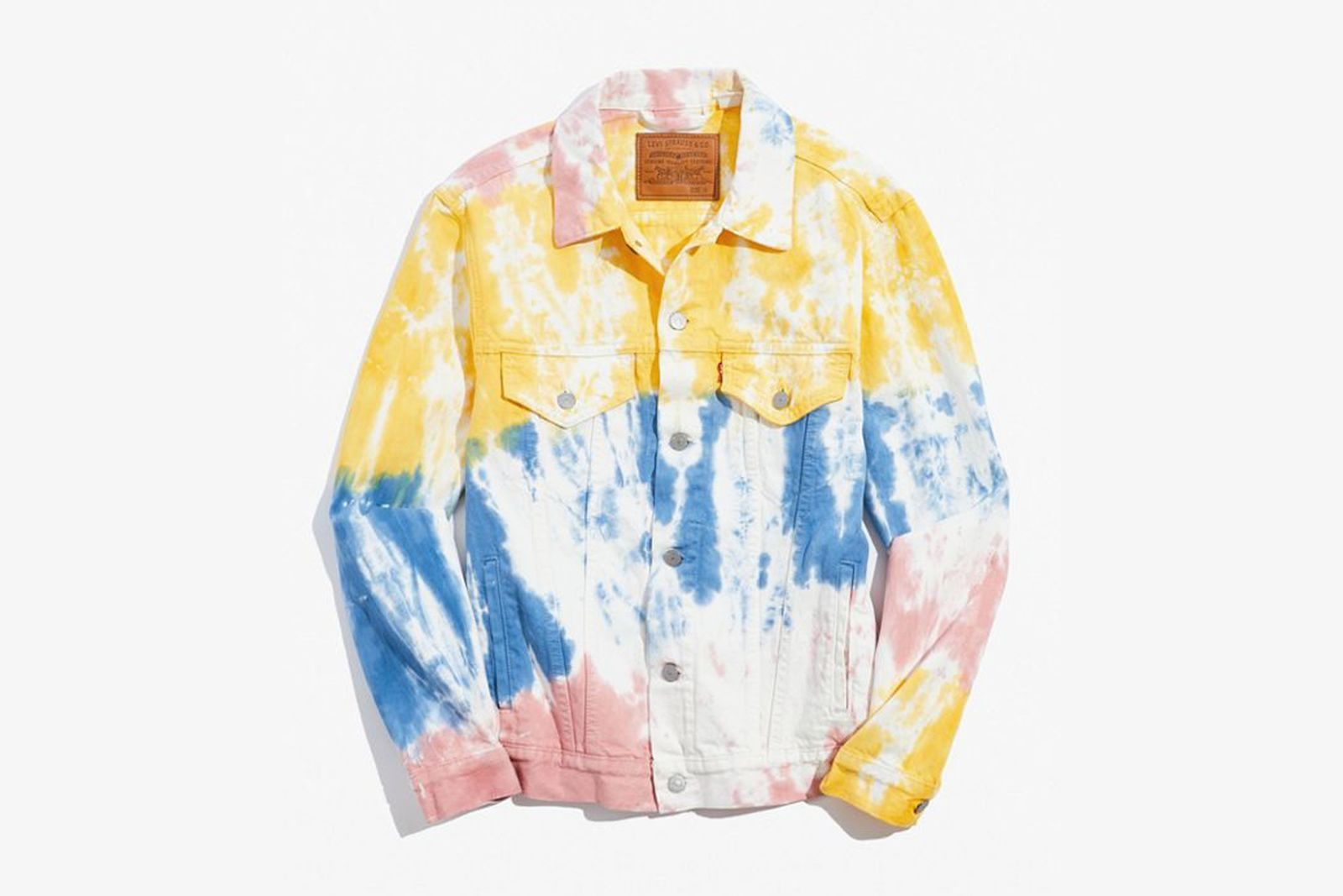 Levi's Tie-Dye Denim Jacket in Yellow, Blue, and Pink