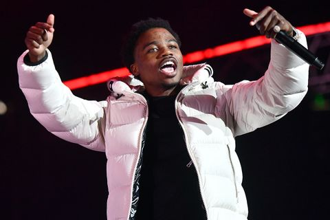 Rapper Roddy Ricch performs at the BET Experience